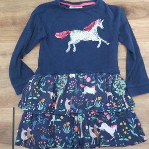 Mini boden unicorn sequin twirly dress 3t/4t